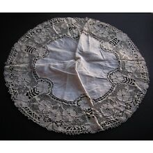 Vintage Bedfordshire Bobbin Lace Linen Handmade Off-White Doily 18
