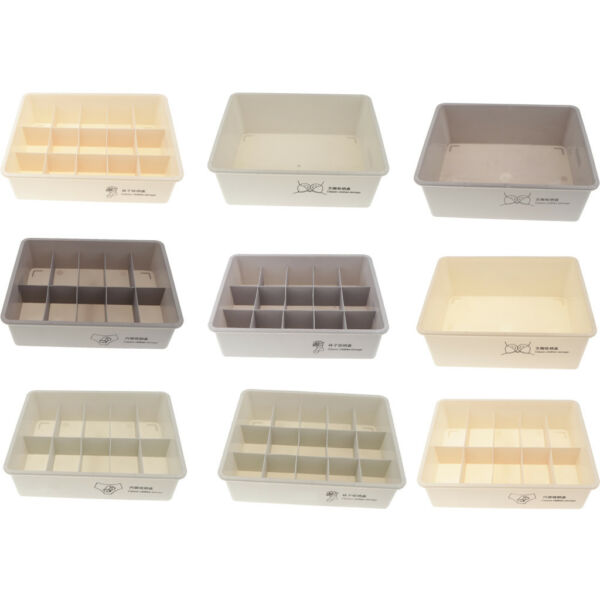 Plastic Organizer Storage Box Tie Bra Sox Drawer Cosmetic Divider Container