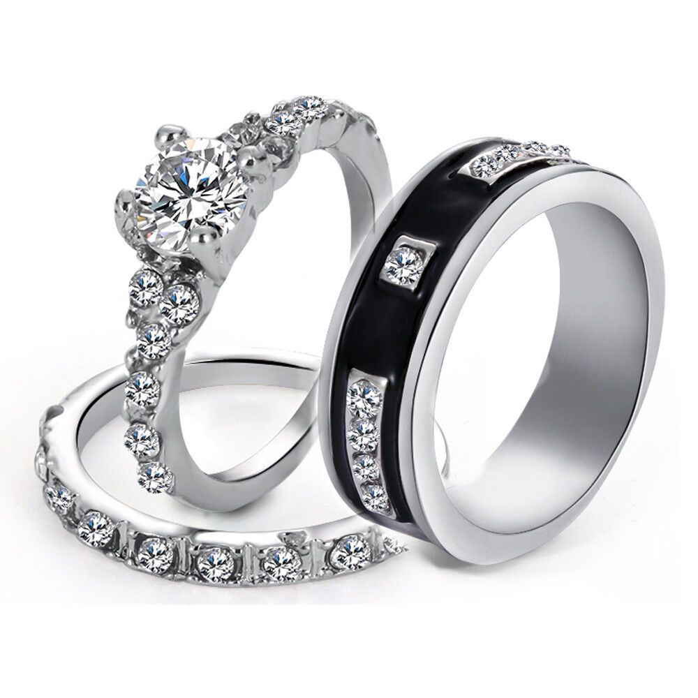 78418d6afc Details about His & Her Stainless Steel Wedding Engagement Couple Matching  Ring Band Set