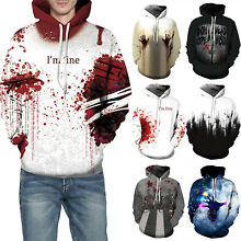 Couples Hoodies 3D Print I'm Fine Blood Wound Scary Sweatshirt Pullover Coat Top