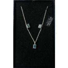 BLUE TOPAZ STERLING SILVER NECKLACE AND EARRING SET IN GIFT BOX
