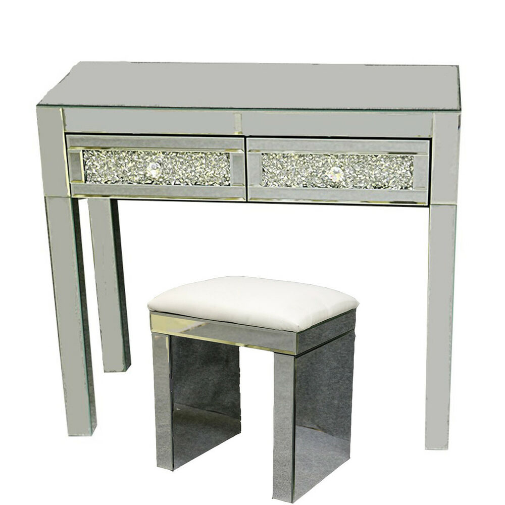 Details About Mirrored Furniture Gl Dressing Table With 2 Drawers Console Bedroom Stool