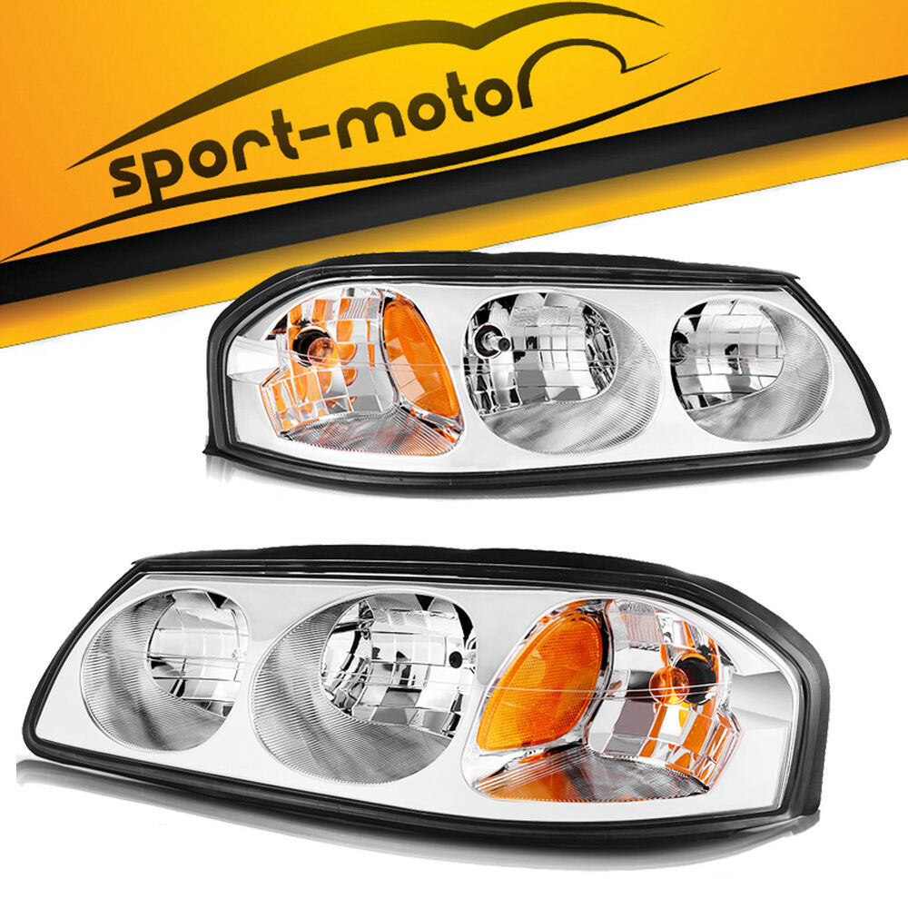 Details About For 2000 2005 Chevy Impala Chrome Headlights Replacement Kit Left Right Embly