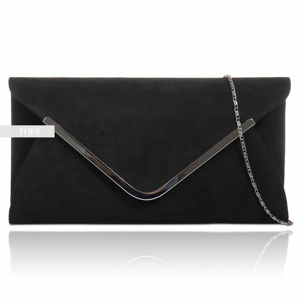 Details about New Stylish Black Plain Suede Wedding Ladies Party Prom  Evening Clutch Hand Bag b96b9477505aa