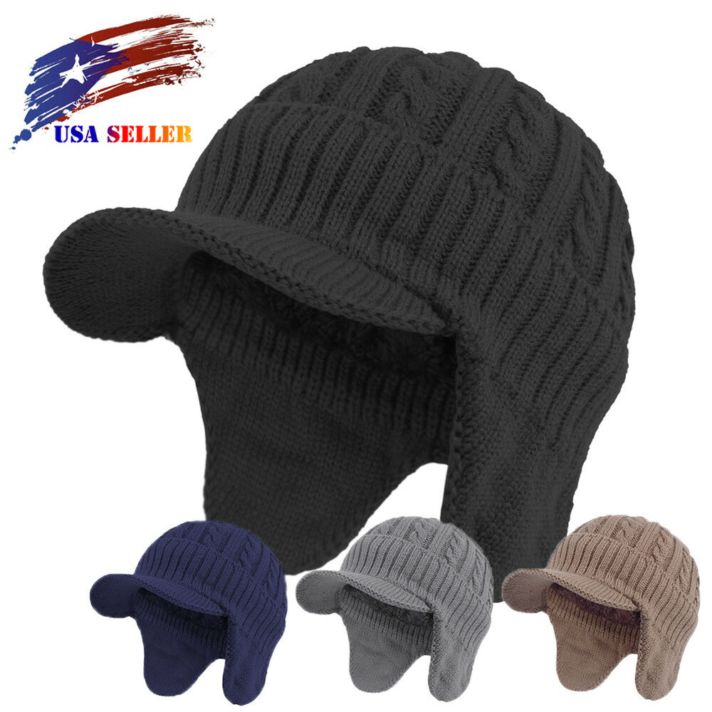 Details about Winter Hunting Visor Beanie Earflap Knit Brim Hat Fleece  Lined Ski Cap with Bill 8dcc40a496f