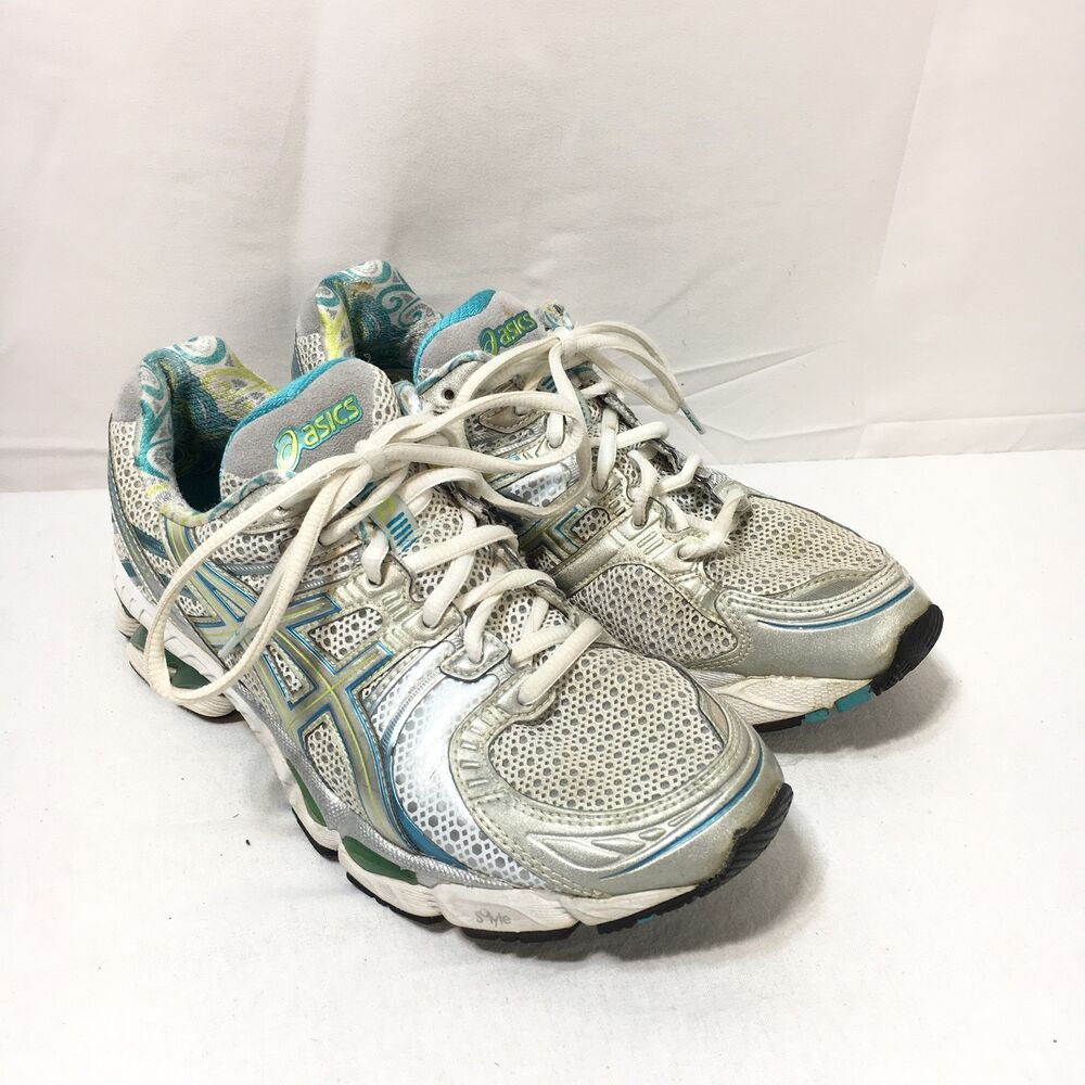 3562828f747 Details about Asics Gel-Kayano 17 Womens 8 Gray Turquoise Blue Lace Up  Running Shoes