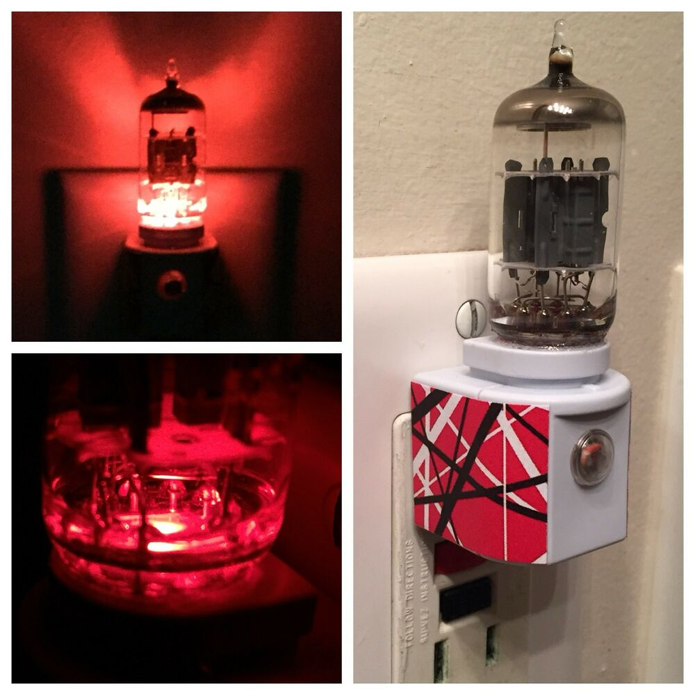 Details About 12ax7 Red Vacuum Led Night Light Made With Evh Van Halen 5150 Decal