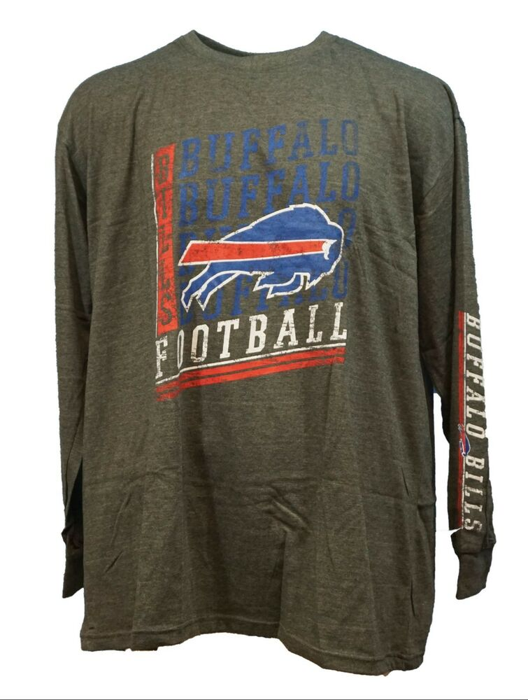 ab1ddbbbe Details about Buffalo Bills NFL Majestic 2 Hit Long Sleeve T-Shirt Charcoal  Grey Mens B T
