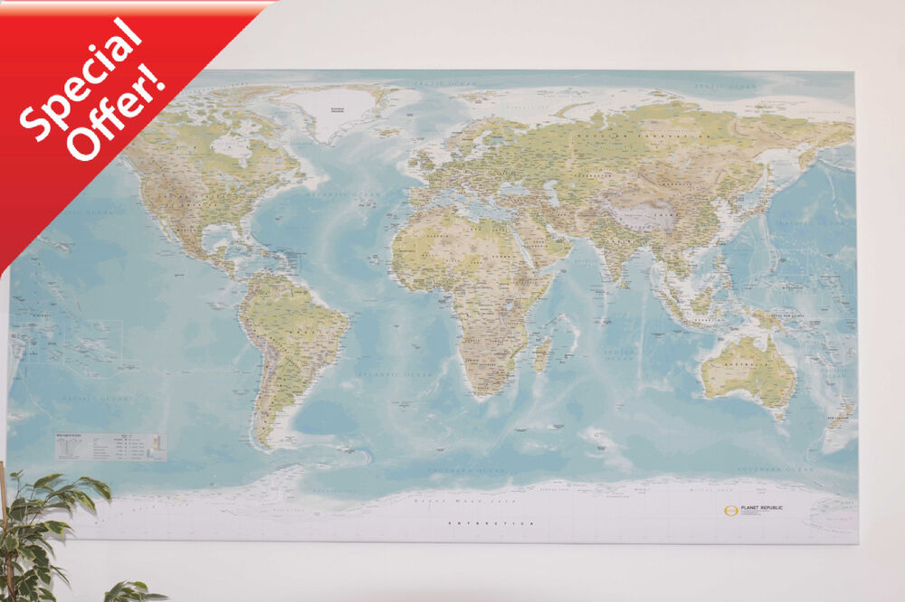 SALE - Huge World Wall Map *** CANVAS ONLY *** | eBay
