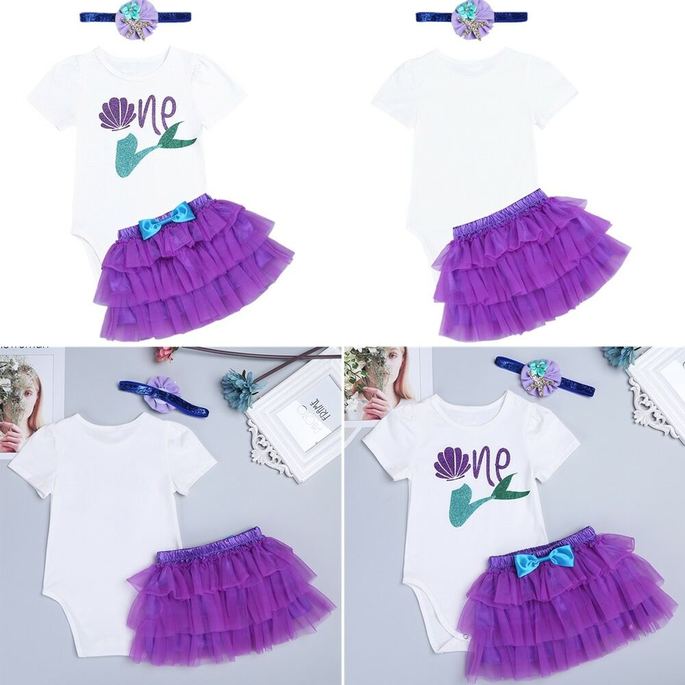 b3255a4f2 Baby Girls 1st Birthday Party Dress Outfit Mermaid Romper Cake Smash ...