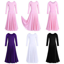 US Kids Girl Praise Dress Child Liturgical Dance Dress Long Sleeve Ruffled Dress