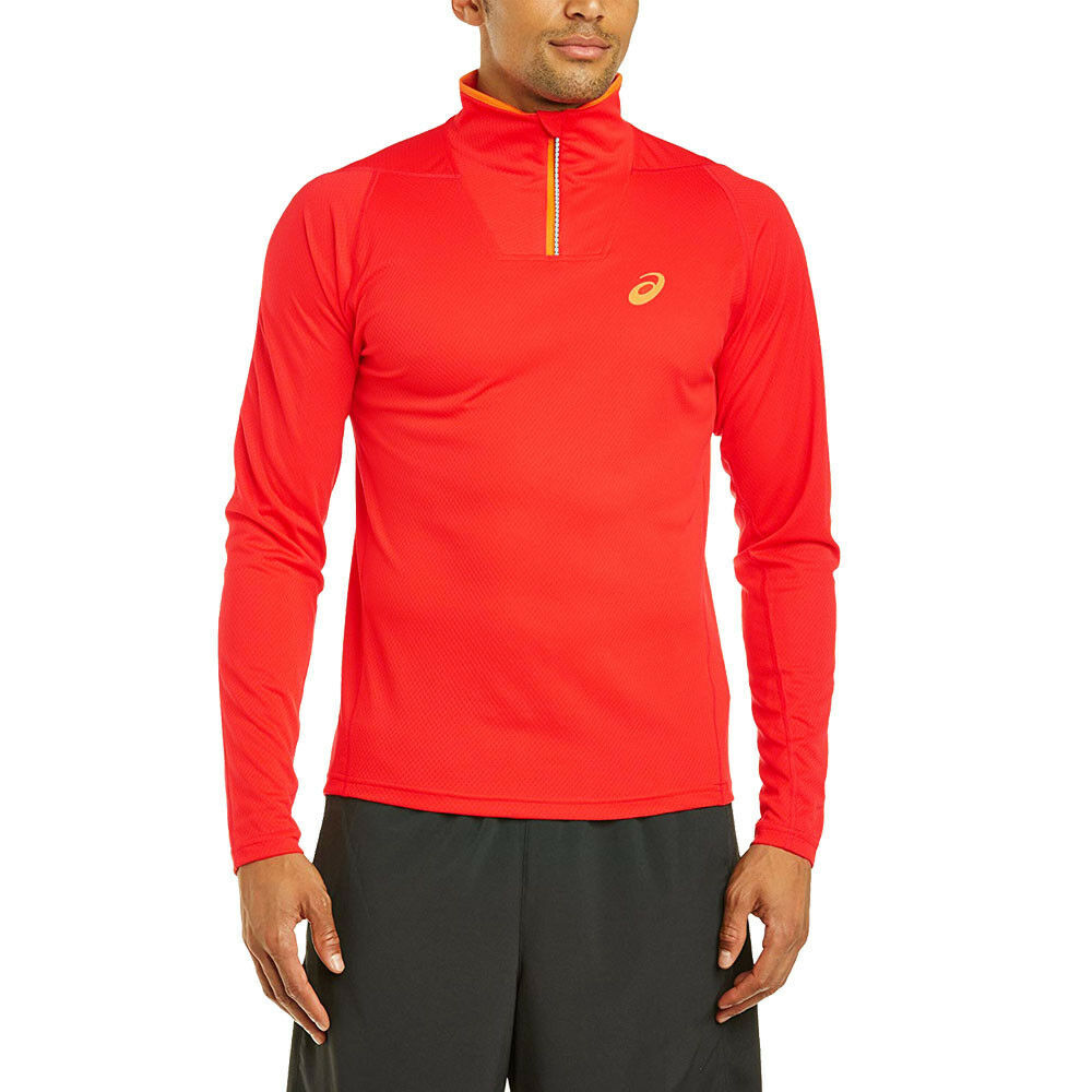 9e01a99f92a5 Details about Asics Mens Mile Half Zip Long Sleeve Running Top Red Sports  Breathable