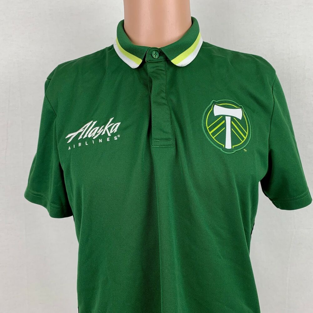 0eaefd09674 Details about Adidas Mens Portland Timbers Clima Lite Polo Shirt L Green MLS  Soccer Sewn