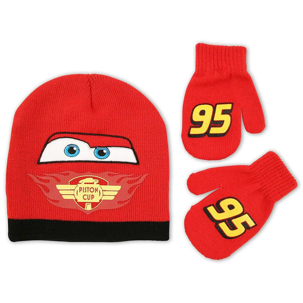 26825a2397b Details about Disney Cars Car Lightning McQueen 95 Boys Beanie Hat and  Gloves Set