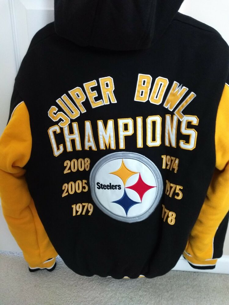 Details about Pittsburgh Steelers 6-Time Super Bowl Champions 1st Class  Fleece Jacket Mens Med 5265d5a73