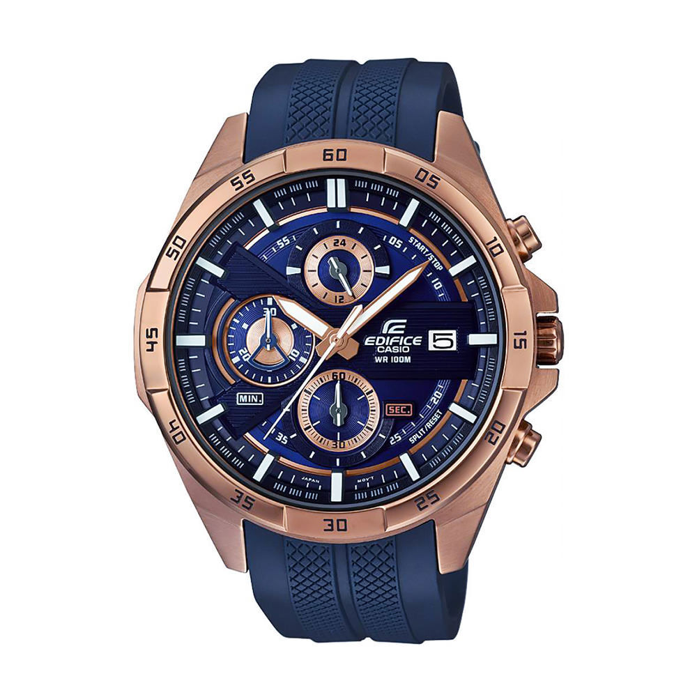 8f6c6268ab99 Details about Casio EDIFICE EFR556PC-2A Chronograph Rose Gold Blue Resin  Band 100m Men s Watch