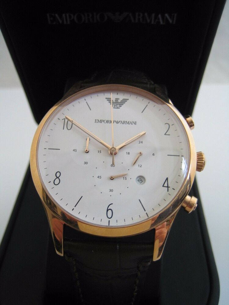 0f15d3c0677 EMPORIO ARMANI WATCH AR1916 MENS ROSE GOLD CHRONOGRAPH LEATHER BNWT GENUINE