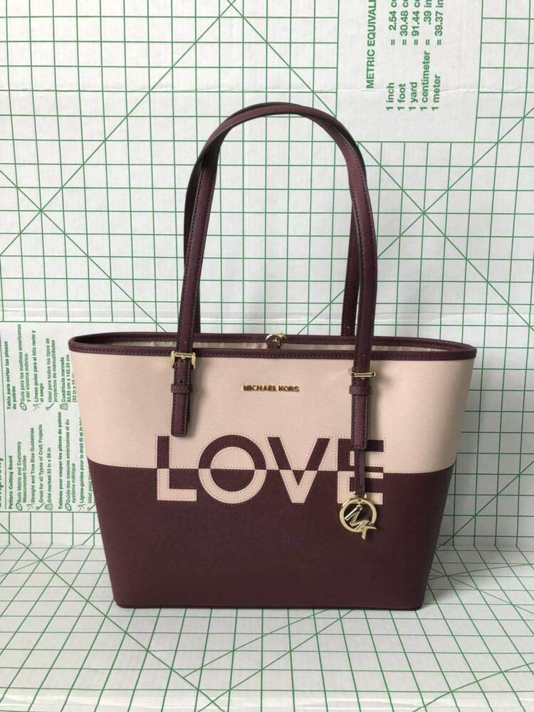 3451bcb5d800 Details about Michael Kors Jet Set Travel Medium Carry All Leather Tote Bag  in Ballet Merlot