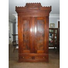 Antique large wood Knock Down 2 Door Wardrobe Armoire Clothes storage cabinet