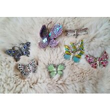 Lot Of 7 Butterflies Dragonfly Rhinestones Enamel Pin Brooches