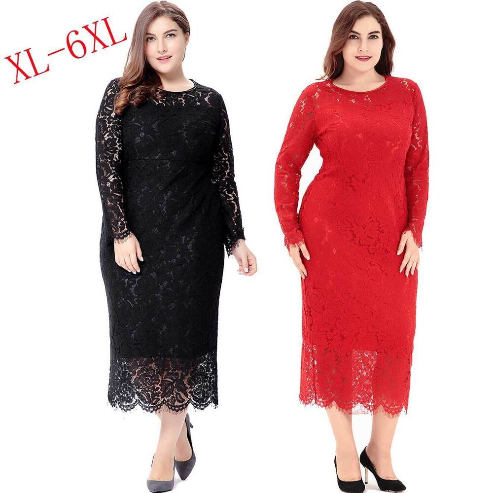 Fashion XL-6XL Plus Size Dress Elegant Lace Long Winter Dress Party ...