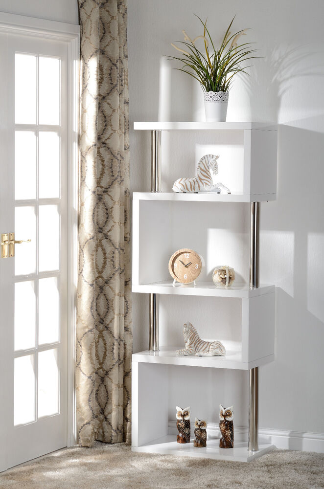 Charisma 5 Shelf Display Unit Bookcase In White Gloss And Chrome Ebay
