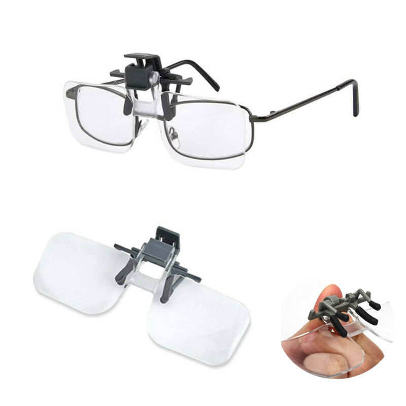 43473f27012 Details about Clip On Flip Up 2x Magnifying Reading Glasses Acrylic  Magnifier Loupe Lenses
