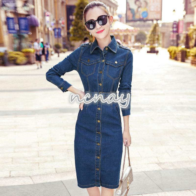 d033666dbb Details about Womens Stylish Long Sleeves Knee Length Denim Slim Dress  Skintight Jean Dress