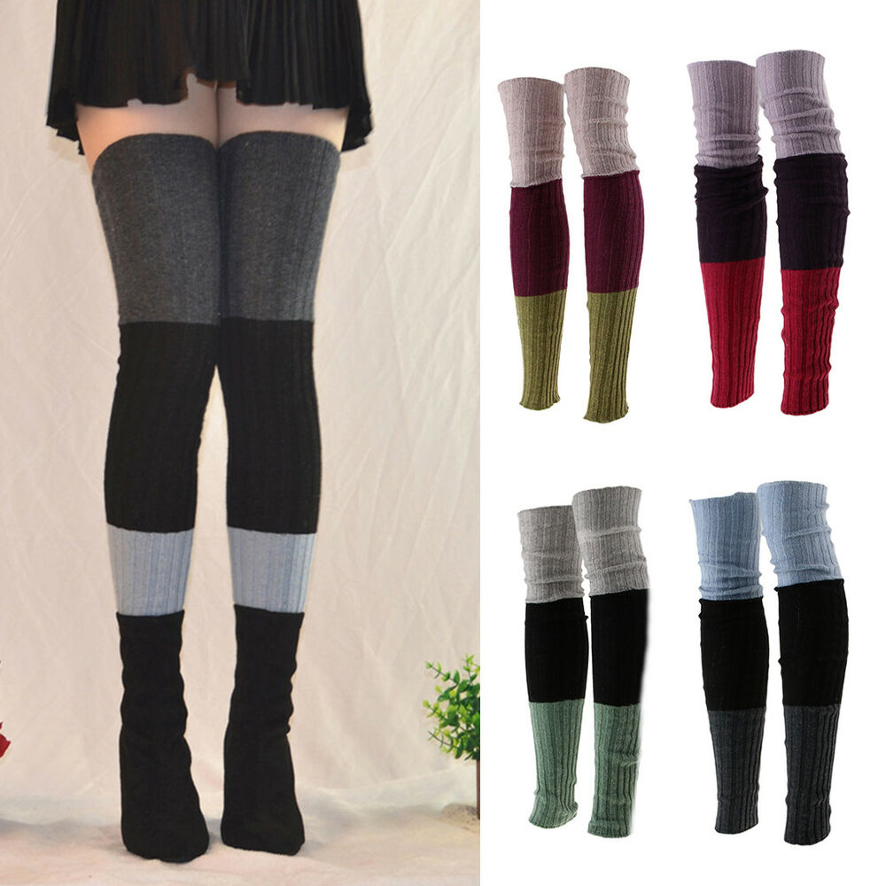 d05942577 Details about Extra Long Stretch Rib Knit High Thigh Over the Knee Socks  Winter Leg Warmer