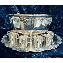1940's Massive Wallace Silverplate Punch Bowl Set Tray,Bowl,12 Cups. Ladle