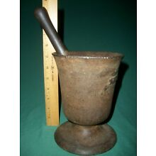 VERY HEAVY (19 POUNDS) Antique Cast Iron Mortar and Pestle