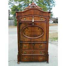 Feathered Walnut Victorian Abattant Secretary 19 Century~~Signed
