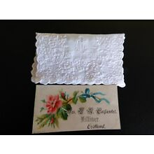 Antique Linen Hand Embroidered Calling Card Case & Card, Smaller Size, Exquisite