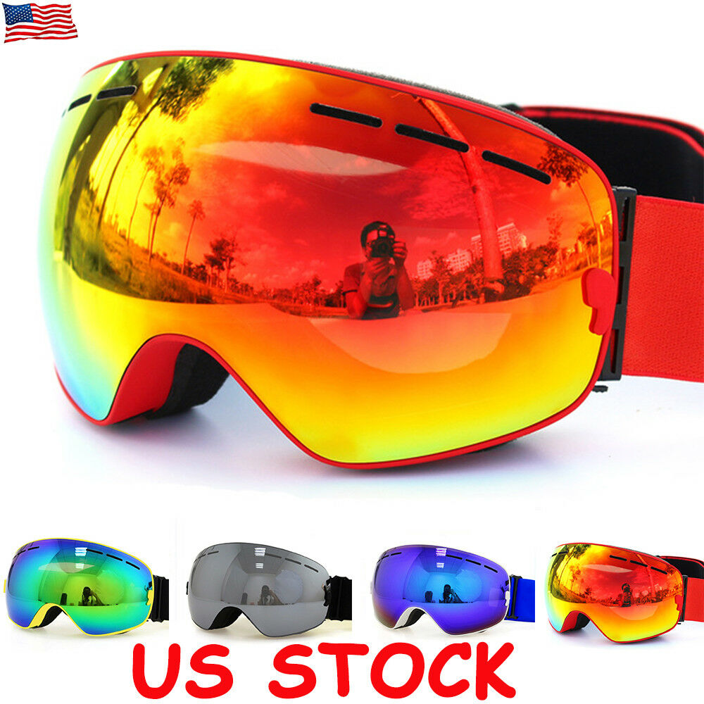 d09972f17e9 Details about Skiing Snowboarding Goggles Double Lens Anti-fog UV 400  Adults Kids Ski Goggles