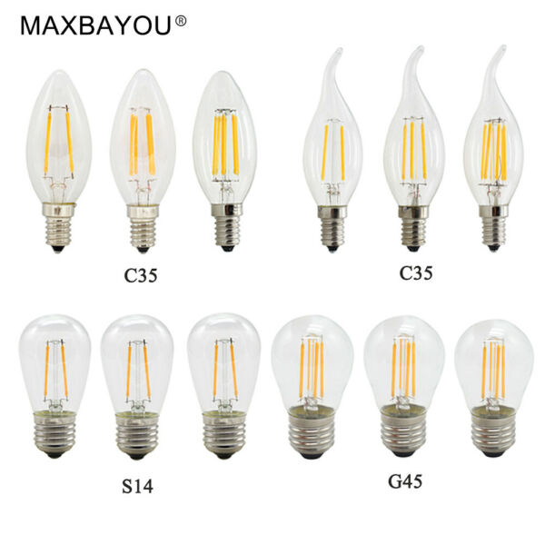 10X 1X Dimmable E14 E27 2W4W6W LED Filament Light Candle Bulb Warmwhite 220V 12V