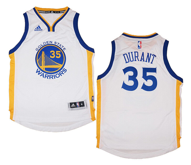 0376d5387e1 Details about Youth Kevin Durant  35 Golden State Warriors NBA Adidas White  Swingman Jersey