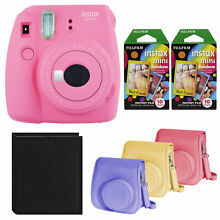 Fujifilm Instax Mini 9 Instant Camera (Pink) with Rainbow Film and Case Bundle