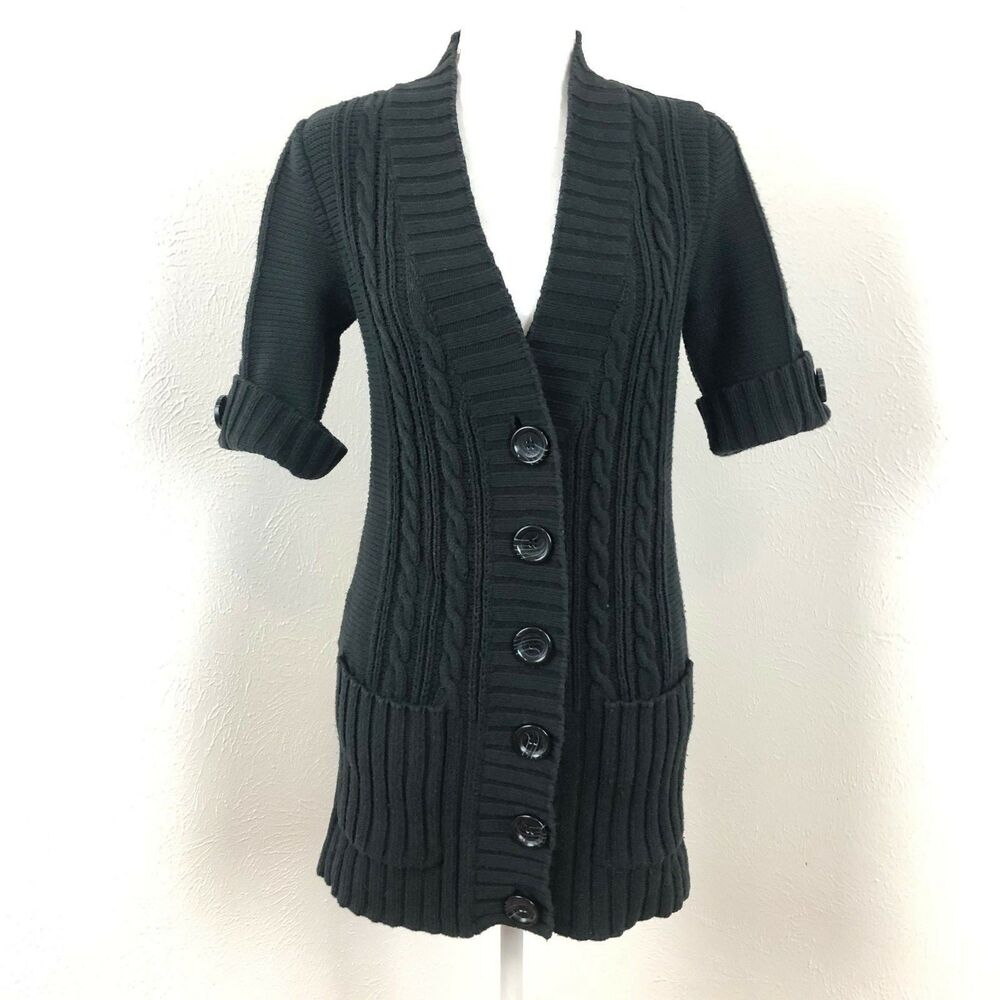 56bf1f455abc Details about Michael Kors Long Cable Knit Cardigan Wrap Sweater Tunic  Black Size S P