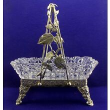 Antique Silver Middletown Plate Co Basket & Cut Glass Center Piece Tray