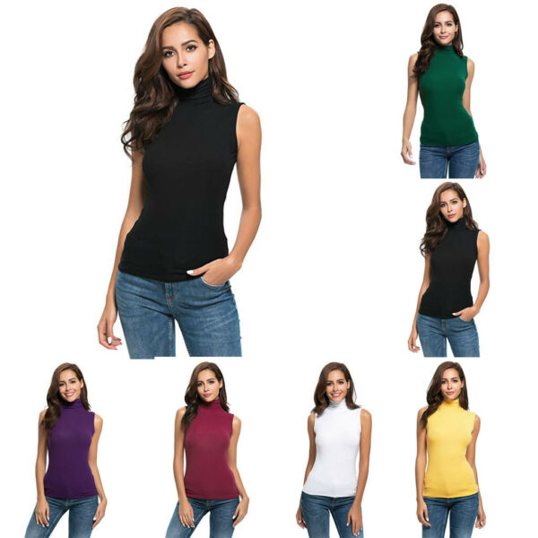 Womens Sleeveless Tops Blouse Solid Slim Fit Turtleneck Tee Shirt Top Blouse  NY