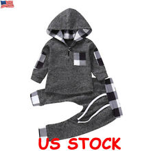 Newborn Baby Boys Girls Hoodie T-shirt Tops+Pants Winter Toddler Clothes Set US