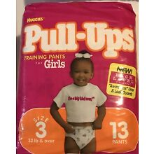 Vintage Huggies Pull-Ups Girls Size L Late 90's One Each From Sealed Packs