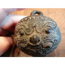 Antique Bronze Elephant Bell Asian Face on Two Sides