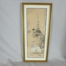 Vintage Signed Asian Japanese Chinese Painting on Silk of Ibis Birds
