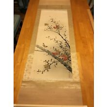 Japanese Scroll Painting, Large, Bird In Pomegranate Tree, Signed