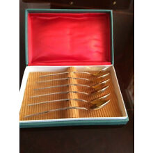 Soviet Russian set of six gold plated tea spoons in box