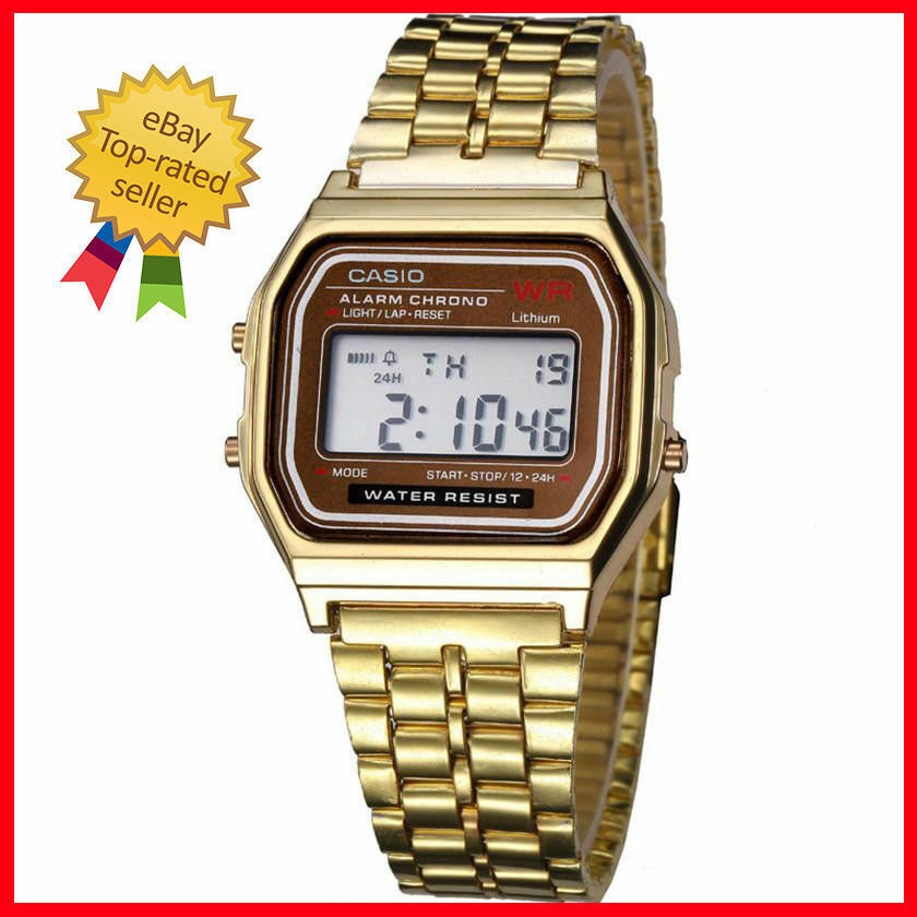 3a21a3f76ce Details about VINTAGE RETRO CASIO WATCH with time alarm GREAT SHAPE gold