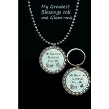 my greatest blessings call me Glam-ma glamma keychain & necklace set great gift