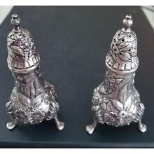 S KIRK & SON STERLING SILVER REPOUSSE FOOTED SALT/PEPPER SHAKERS #7-3 7/8