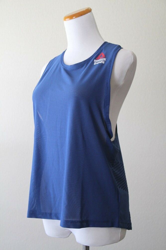 eff3051c03 REEBOK Women s CrossFit Jacquard Tank Top DM4012 Bunker Blue Small ...